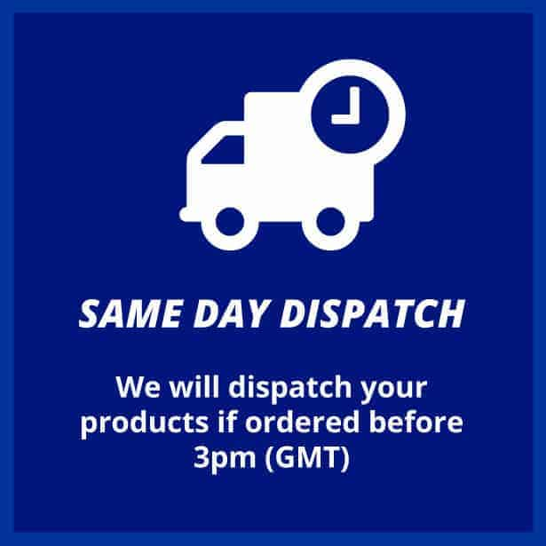 Same day dispatch if ordered before 3pm (GMT)